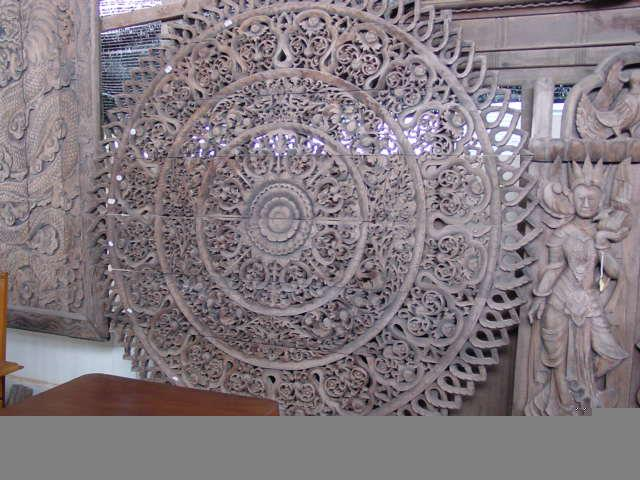 Round carved panel, Northern Thailand