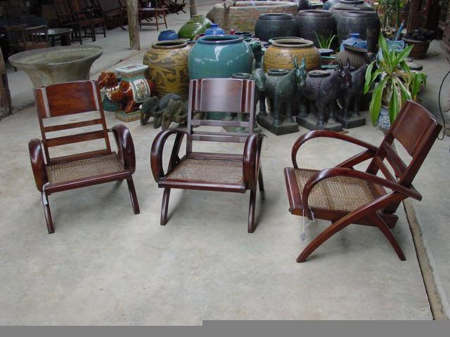 round arm Burmese deco chairs