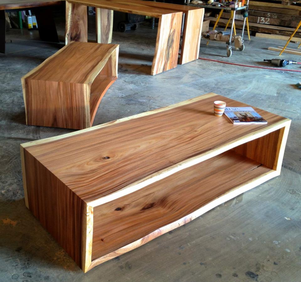 Large Vintage Monkey Pod Wood Slab Coffee Table: Bjorling Grant