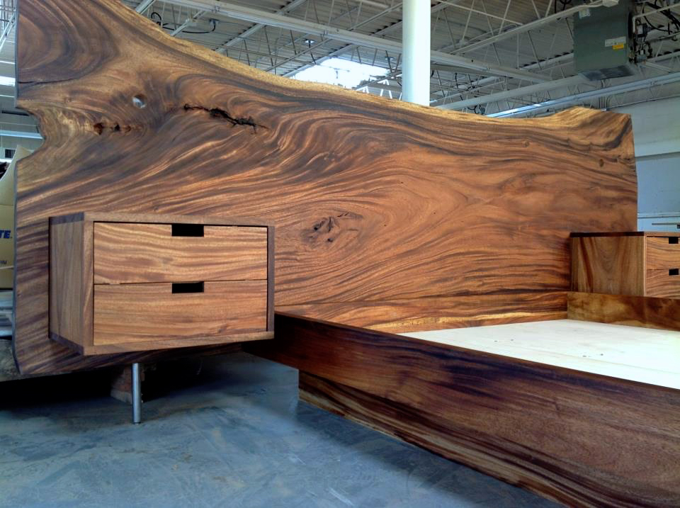 Monkeypod headboard and king platform bed with floating for Bed with floating nightstands