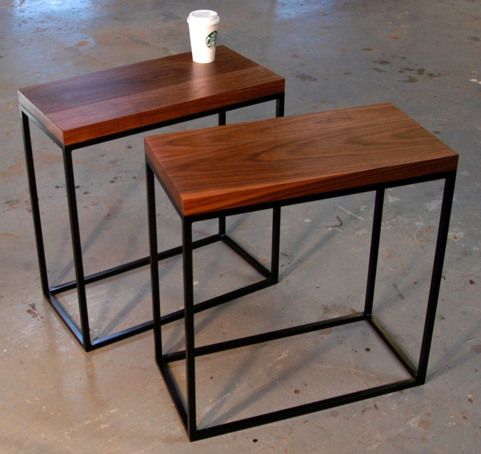 skinny walnut and square tube side tables bjorling grant