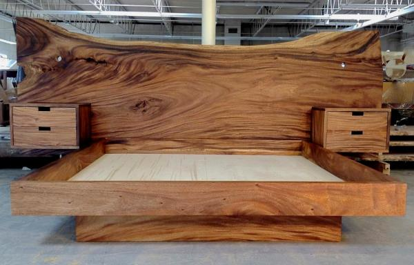 Monkeypod headboard and king platform bed with floating nightstands